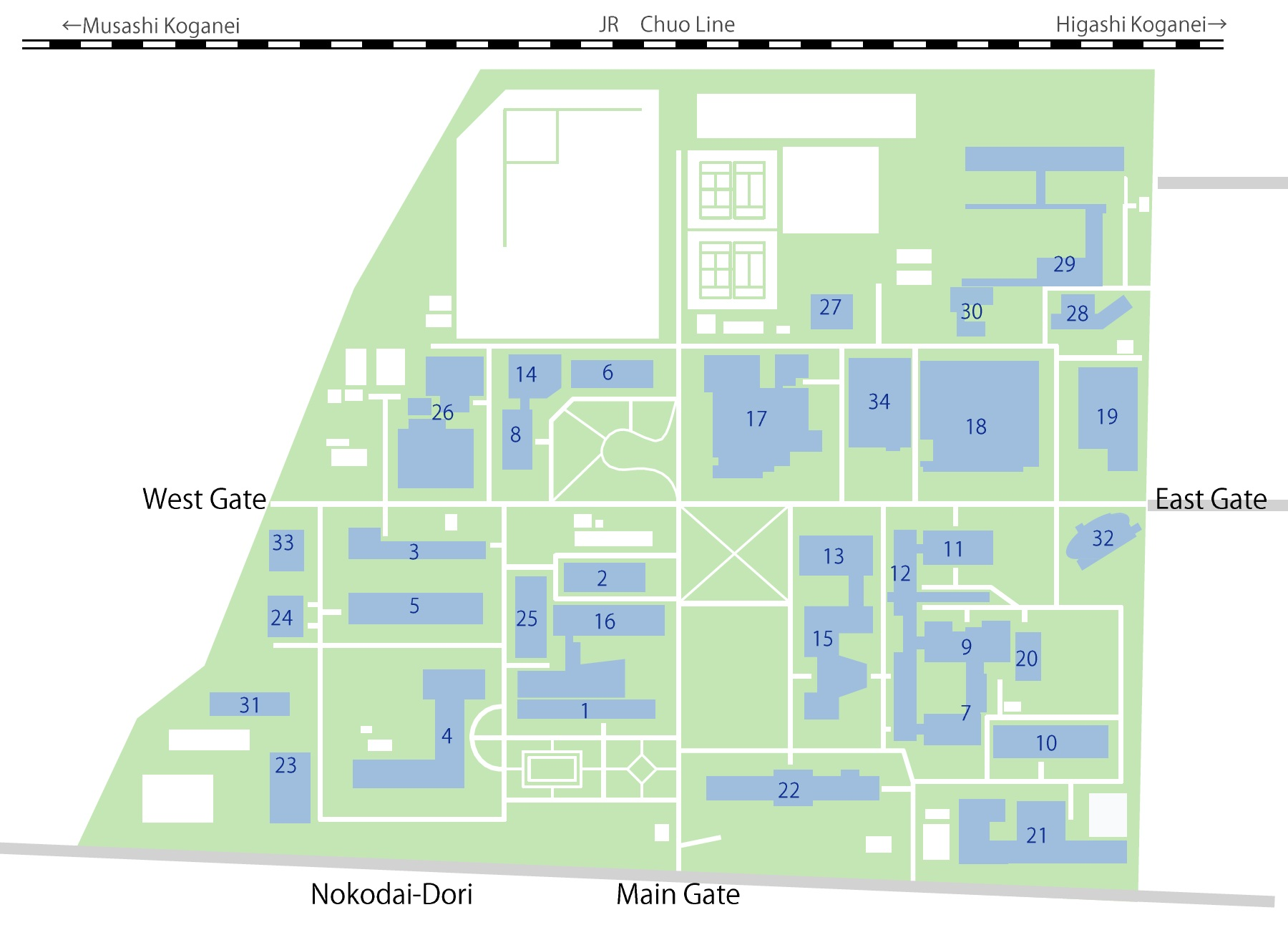 Applied Materials Campus Map.Koganei Campus Map Transportation Guidance And Campus Maps